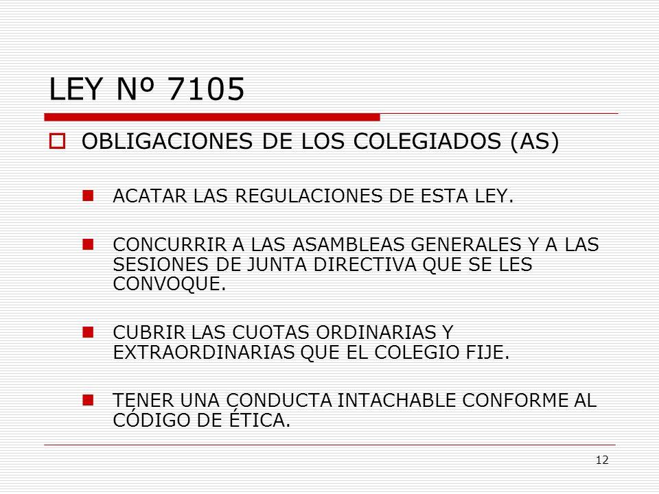 LEY Nº 7105 OBLIGACIONES DE LOS COLEGIADOS (AS) ACATAR LAS REGULACIONES DE ESTA LEY. CONCURRIR A LAS ASAMBLEAS GENERALES Y A LAS SESIONES DE JUNTA DIR