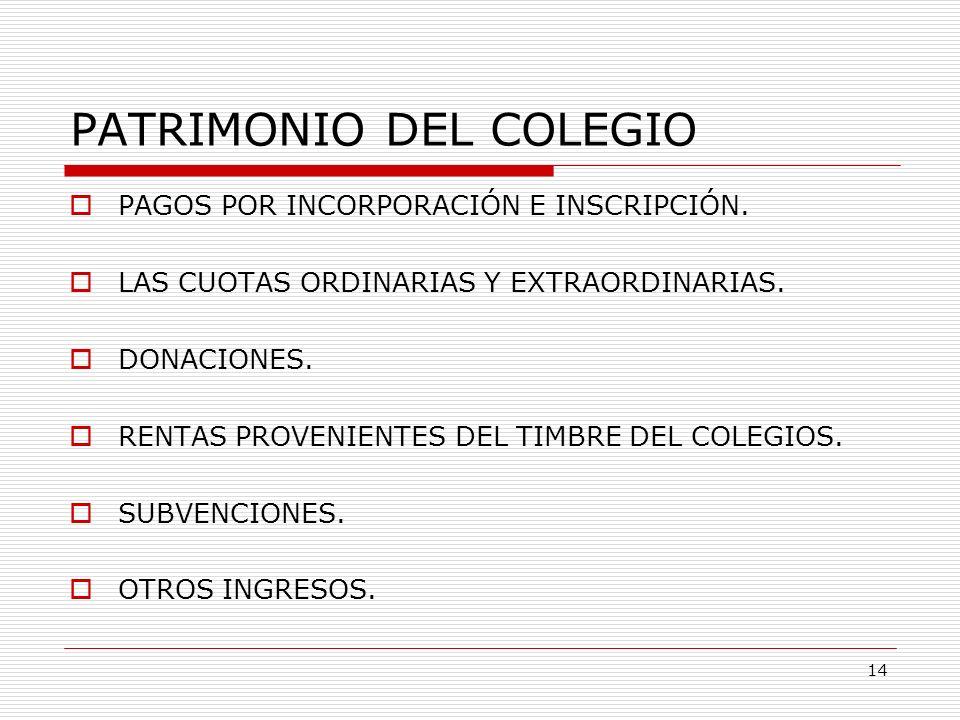 PATRIMONIO DEL COLEGIO PAGOS POR INCORPORACIÓN E INSCRIPCIÓN. LAS CUOTAS ORDINARIAS Y EXTRAORDINARIAS. DONACIONES. RENTAS PROVENIENTES DEL TIMBRE DEL