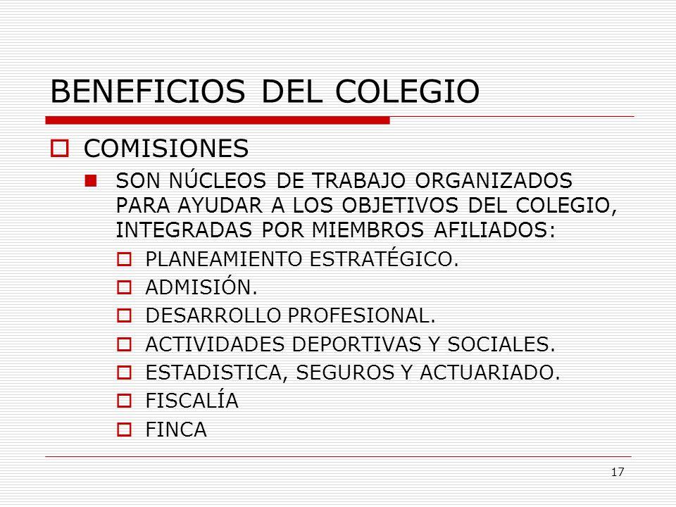 BENEFICIOS DEL COLEGIO COMISIONES SON NÚCLEOS DE TRABAJO ORGANIZADOS PARA AYUDAR A LOS OBJETIVOS DEL COLEGIO, INTEGRADAS POR MIEMBROS AFILIADOS: PLANE
