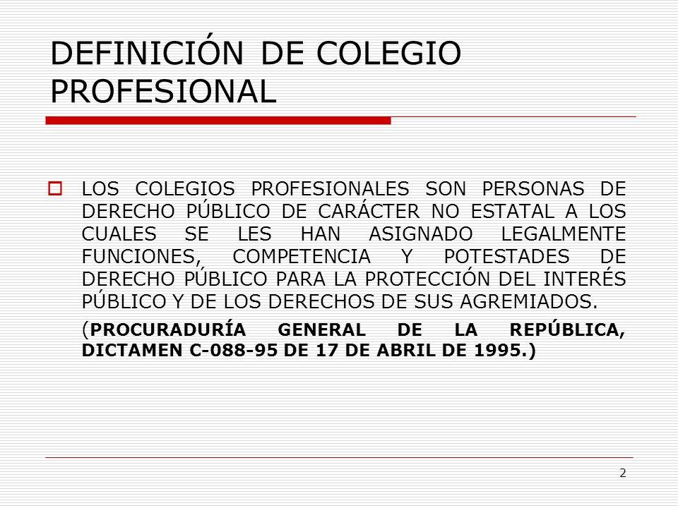 DEFINICIÓN DE COLEGIO PROFESIONAL LOS COLEGIOS PROFESIONALES SON PERSONAS DE DERECHO PÚBLICO DE CARÁCTER NO ESTATAL A LOS CUALES SE LES HAN ASIGNADO L
