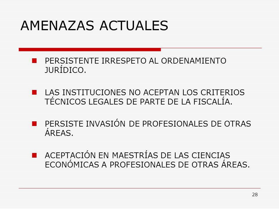 AMENAZAS ACTUALES PERSISTENTE IRRESPETO AL ORDENAMIENTO JURÍDICO. LAS INSTITUCIONES NO ACEPTAN LOS CRITERIOS TÉCNICOS LEGALES DE PARTE DE LA FISCALÍA.