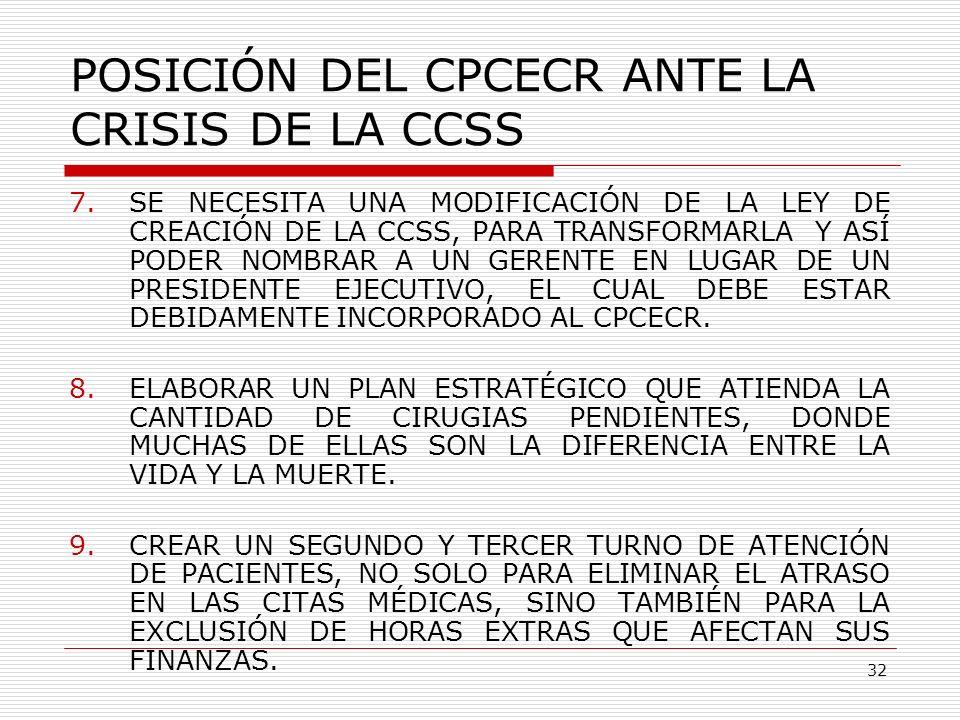 POSICIÓN DEL CPCECR ANTE LA CRISIS DE LA CCSS 7.SE NECESITA UNA MODIFICACIÓN DE LA LEY DE CREACIÓN DE LA CCSS, PARA TRANSFORMARLA Y ASÍ PODER NOMBRAR
