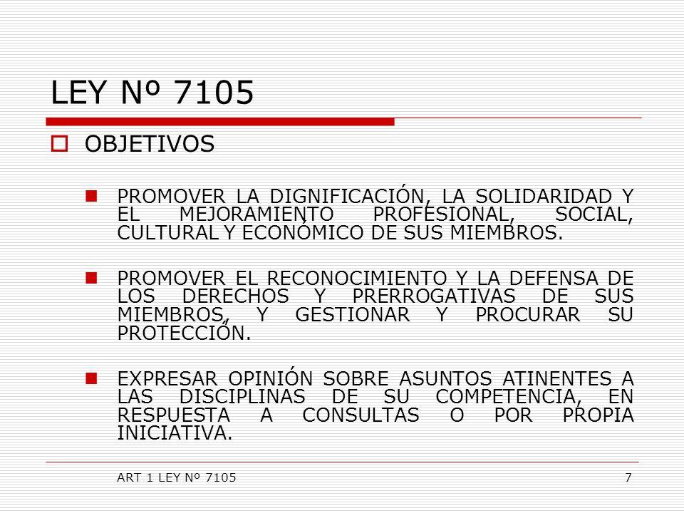 LEY Nº 7105 OBJETIVOS PROMOVER LA DIGNIFICACIÓN, LA SOLIDARIDAD Y EL MEJORAMIENTO PROFESIONAL, SOCIAL, CULTURAL Y ECONÓMICO DE SUS MIEMBROS. PROMOVER