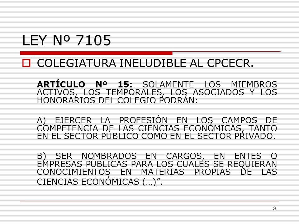 LEY Nº 7105 COLEGIATURA INELUDIBLE AL CPCECR. ARTÍCULO Nº 15: SOLAMENTE LOS MIEMBROS ACTIVOS, LOS TEMPORALES, LOS ASOCIADOS Y LOS HONORARIOS DEL COLEG