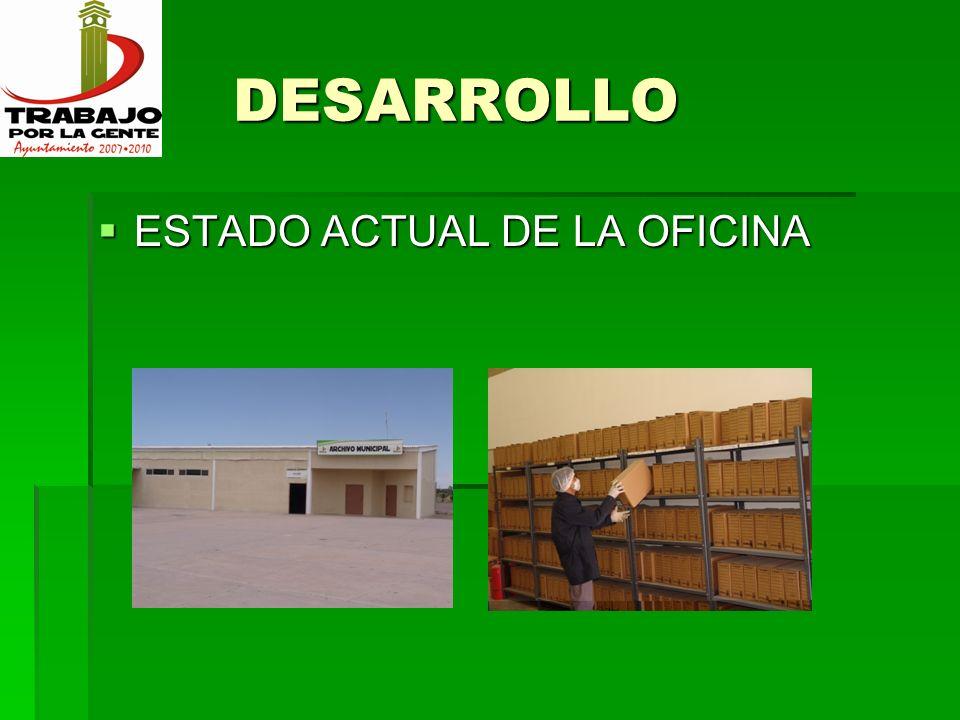 DESARROLLO DESARROLLO ESTADO ACTUAL DE LA OFICINA ESTADO ACTUAL DE LA OFICINA