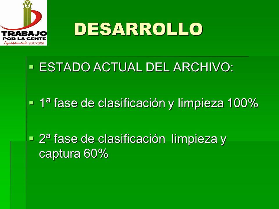 DESARROLLO DESARROLLO ESTADO ACTUAL DE LA OFICINA ESTADO ACTUAL DE LA OFICINA Captura clasificación Captura clasificación
