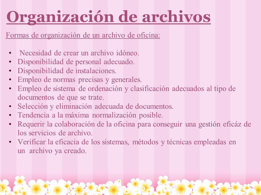 Organización de archivos Formas de organización de un archivo de oficina: Necesidad de crear un archivo idóneo. Disponibilidad de personal adecuado. D