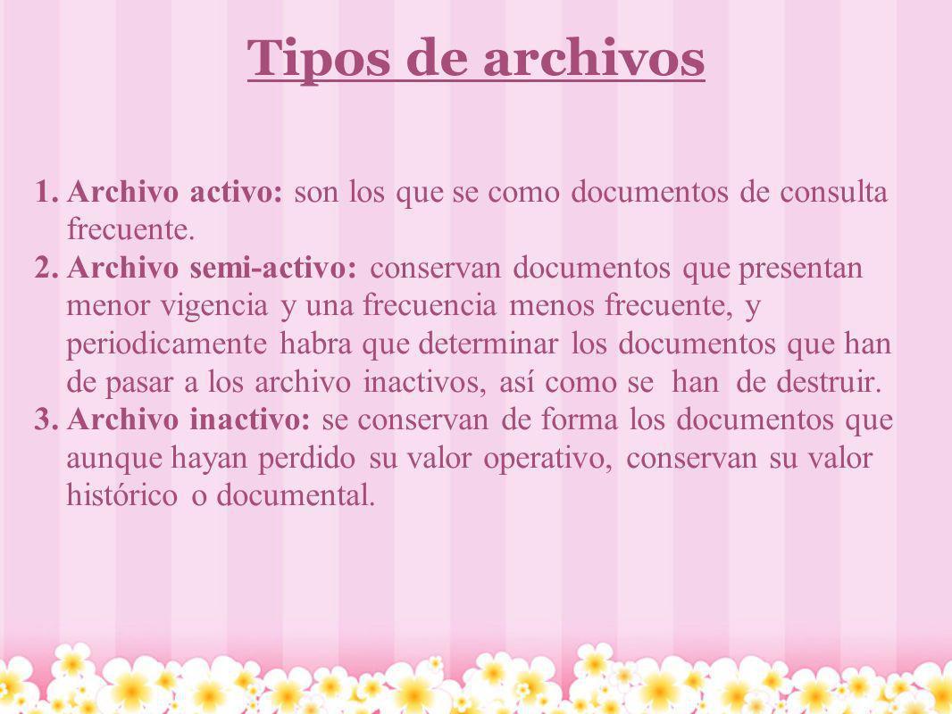Tipos de archivos 1.Archivo activo: son los que se como documentos de consulta frecuente. 2.Archivo semi-activo: conservan documentos que presentan me