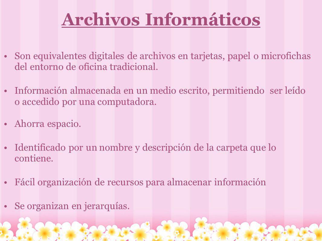 Archivos Informáticos Son equivalentes digitales de archivos en tarjetas, papel o microfichas del entorno de oficina tradicional. Información almacena