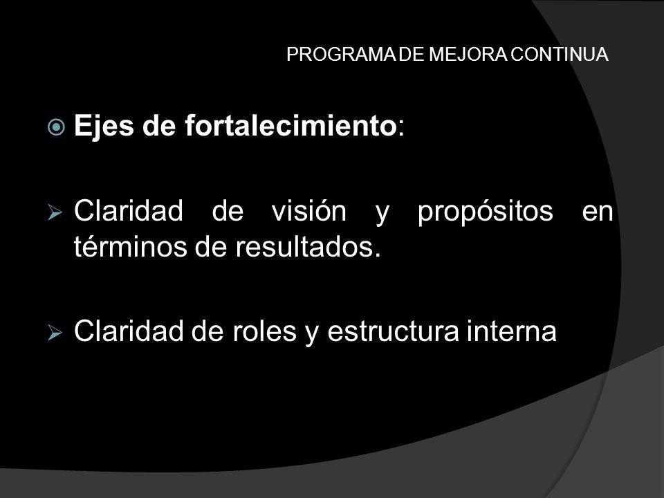 PROGRAMA DE MEJORA CONTINUA Ejes de fortalecimiento: Claridad de visión y propósitos en términos de resultados. Claridad de roles y estructura interna