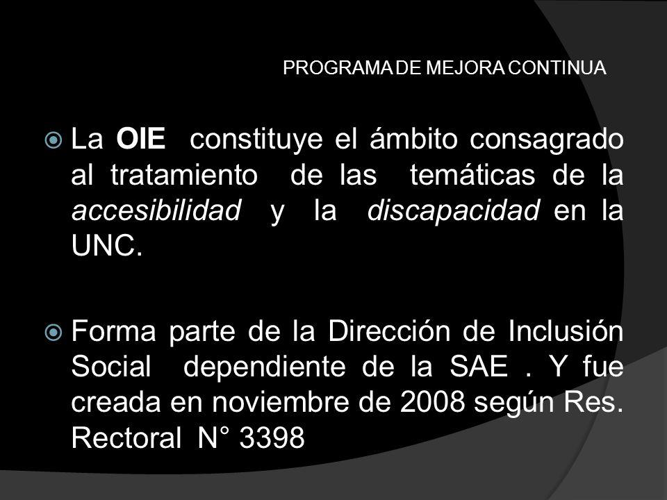 PROGRAMA DE MEJORA CONTINUA La OIE constituye el ámbito consagrado al tratamiento de las temáticas de la accesibilidad y la discapacidad en la UNC. Fo