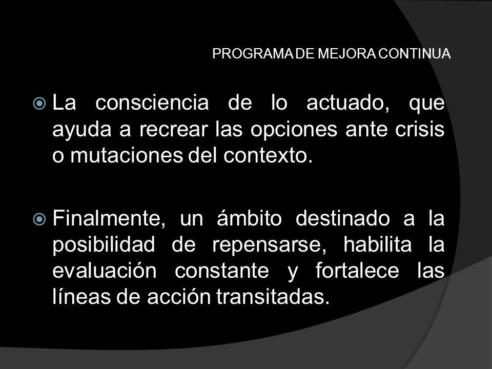 PROGRAMA DE MEJORA CONTINUA La consciencia de lo actuado, que ayuda a recrear las opciones ante crisis o mutaciones del contexto. Finalmente, un ámbit