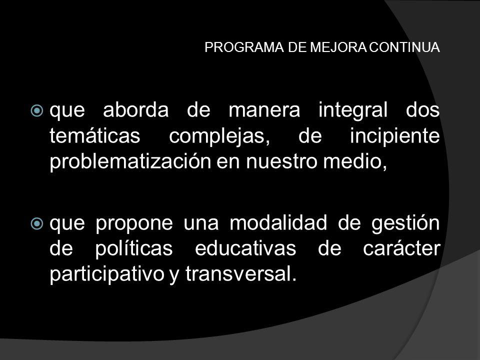 PROGRAMA DE MEJORA CONTINUA Lo antes mencionado sumado a la propuesta de abordaje integral presentada por el equipo, supone un espacio de trabajo complejo con múltiples vinculaciones multiactorales, intra y extra institucionales.