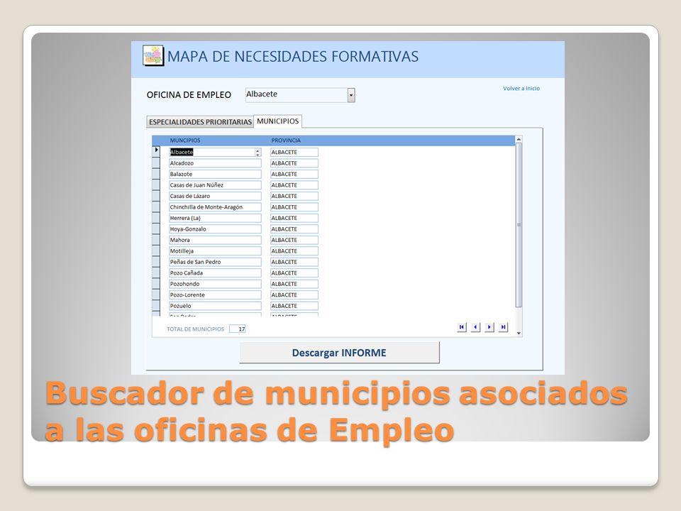 Informe de Municipios asociados a las oficinas de Empleo