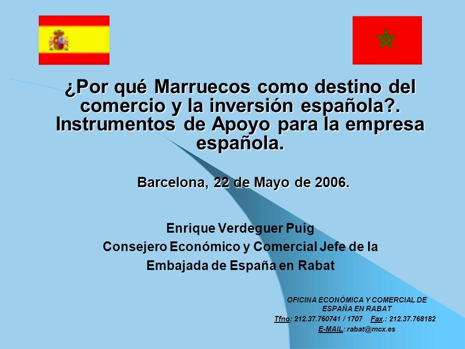 ¿Por qué Marruecos como destino del comercio y la inversión española?. Instrumentos de Apoyo para la empresa española. Barcelona, 22 de Mayo de 2006.