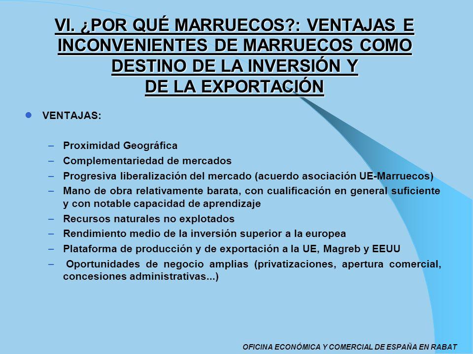 VENTAJAS: –Proximidad Geográfica –Complementariedad de mercados –Progresiva liberalización del mercado (acuerdo asociación UE-Marruecos) –Mano de obra