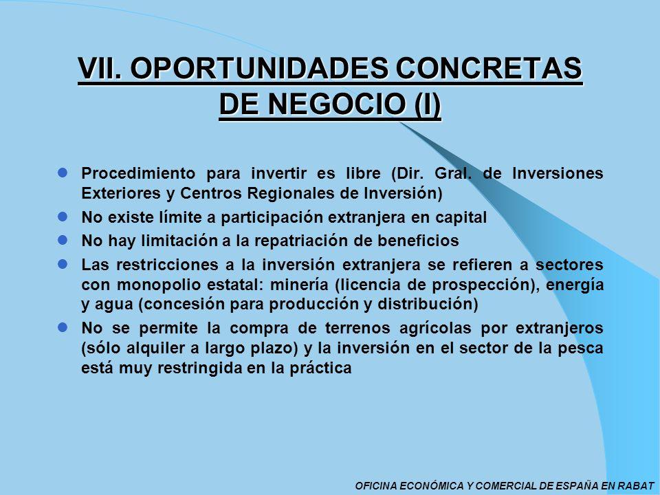 VII. OPORTUNIDADES CONCRETAS DE NEGOCIO (I) Procedimiento para invertir es libre (Dir. Gral. de Inversiones Exteriores y Centros Regionales de Inversi