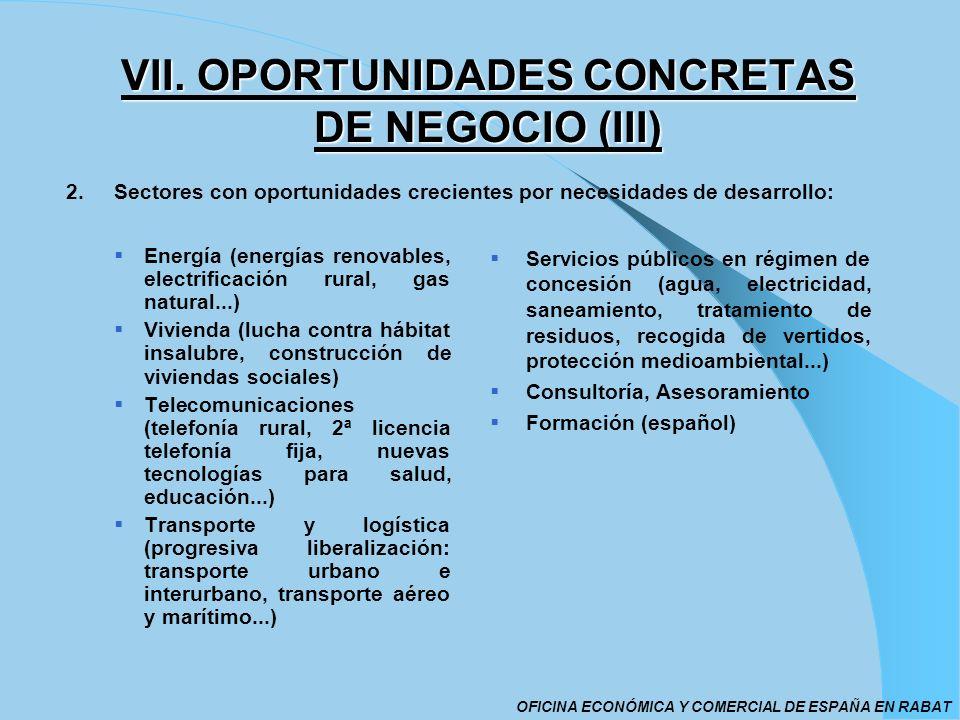 VII. OPORTUNIDADES CONCRETAS DE NEGOCIO (III) Energía (energías renovables, electrificación rural, gas natural...) Vivienda (lucha contra hábitat insa