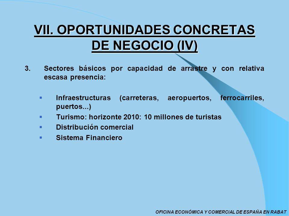 VII. OPORTUNIDADES CONCRETAS DE NEGOCIO (IV) 3.Sectores básicos por capacidad de arrastre y con relativa escasa presencia: Infraestructuras (carretera