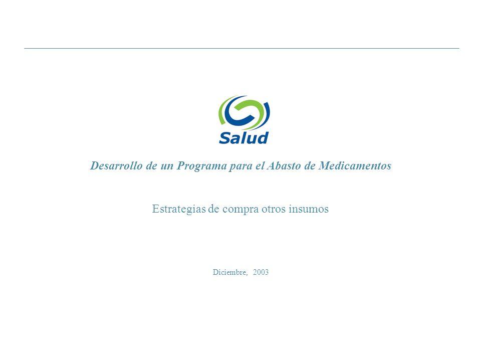 Diciembre, 2003 Desarrollo de un Programa para el Abasto de Medicamentos Estrategias de compra otros insumos