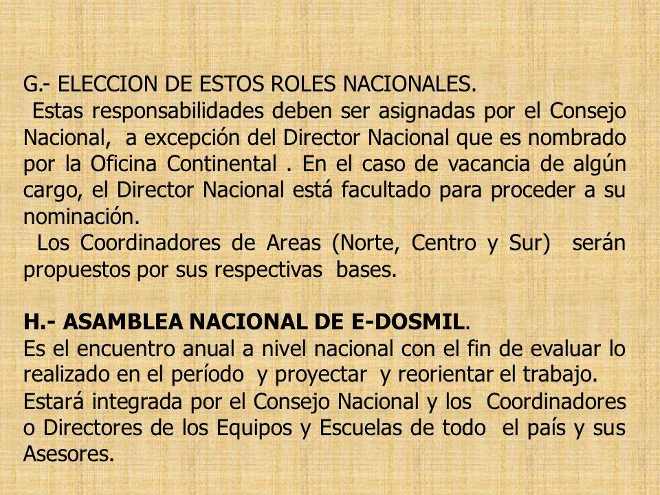G.- ELECCION DE ESTOS ROLES NACIONALES. Estas responsabilidades deben ser asignadas por el Consejo Nacional, a excepción del Director Nacional que es