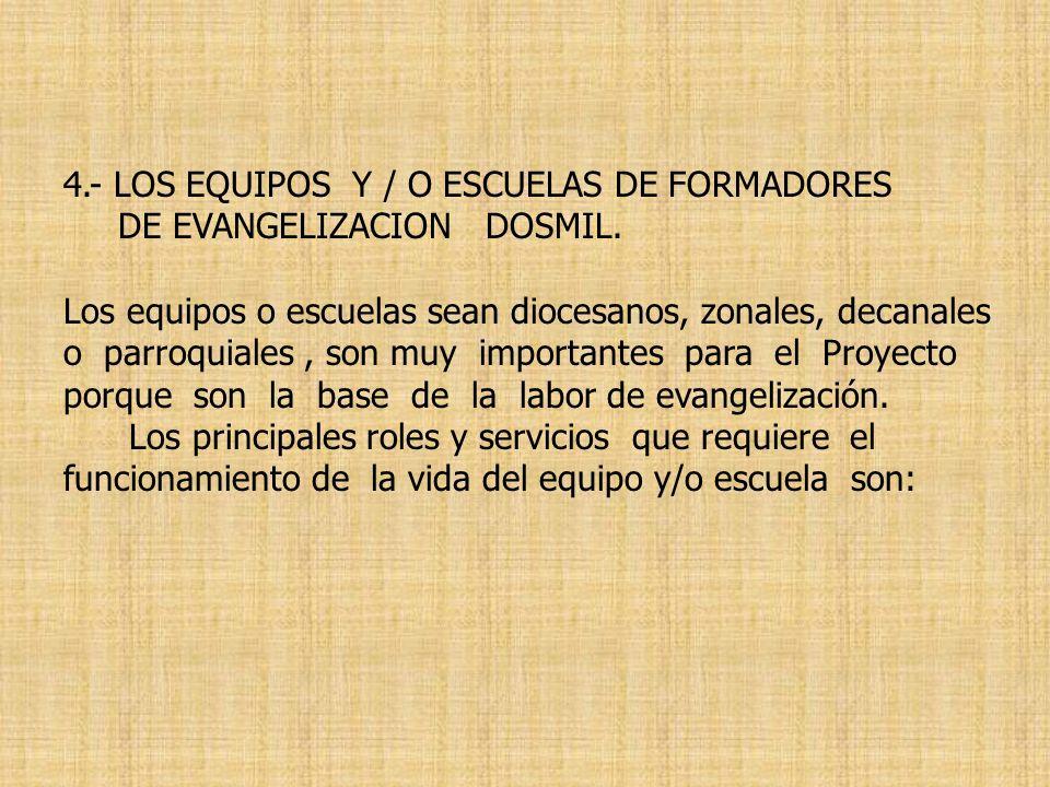 4.- LOS EQUIPOS Y / O ESCUELAS DE FORMADORES DE EVANGELIZACION DOSMIL. Los equipos o escuelas sean diocesanos, zonales, decanales o parroquiales, son