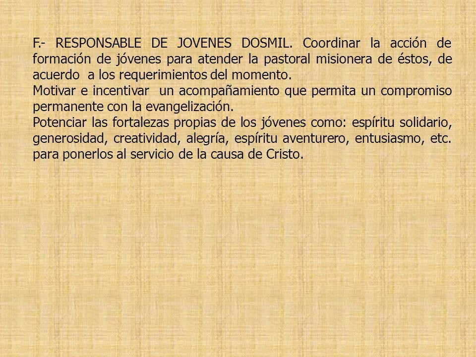 F.- RESPONSABLE DE JOVENES DOSMIL. Coordinar la acción de formación de jóvenes para atender la pastoral misionera de éstos, de acuerdo a los requerimi
