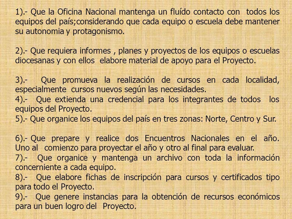 1).- Que la Oficina Nacional mantenga un fluído contacto con todos los equipos del país;considerando que cada equipo o escuela debe mantener su autono