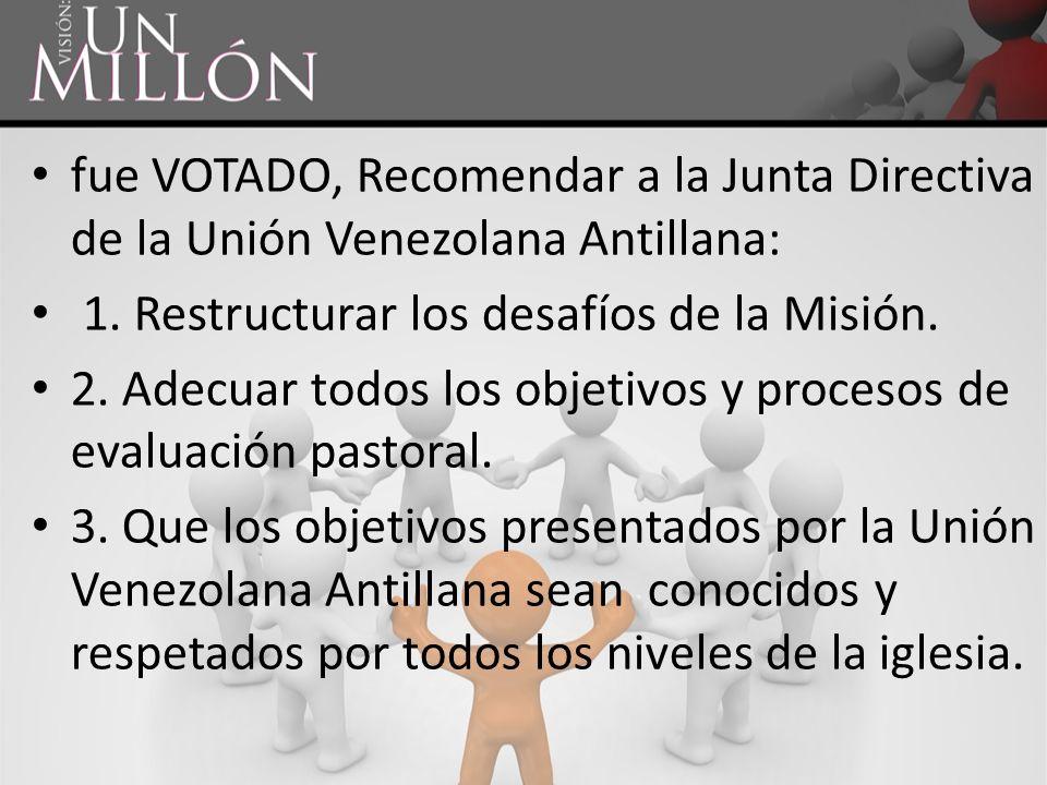 fue VOTADO, Recomendar a la Junta Directiva de la Unión Venezolana Antillana: 1. Restructurar los desafíos de la Misión. 2. Adecuar todos los objetivo