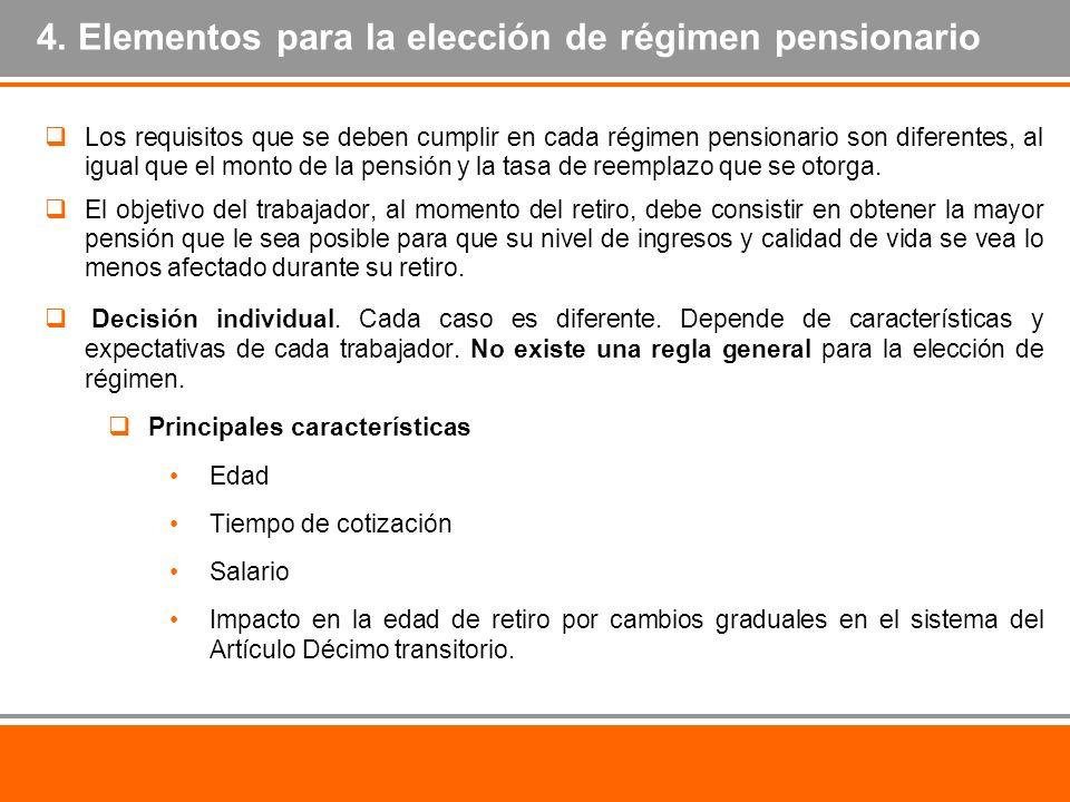 4. Elementos para la elección de régimen pensionario Los requisitos que se deben cumplir en cada régimen pensionario son diferentes, al igual que el m