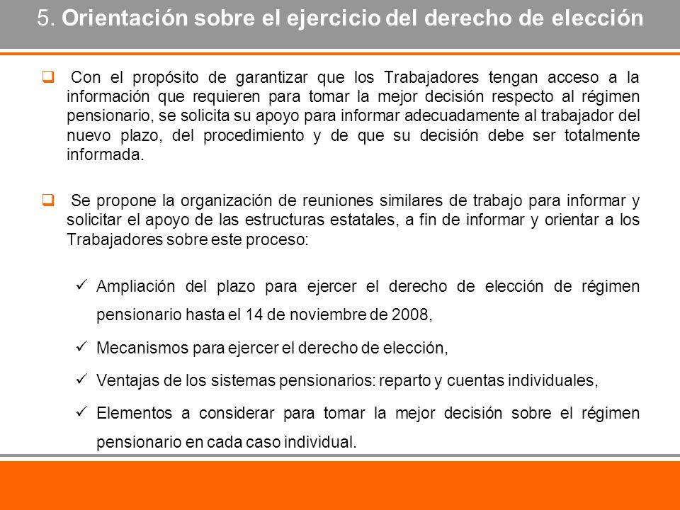 5. Orientación sobre el ejercicio del derecho de elección Con el propósito de garantizar que los Trabajadores tengan acceso a la información que requi