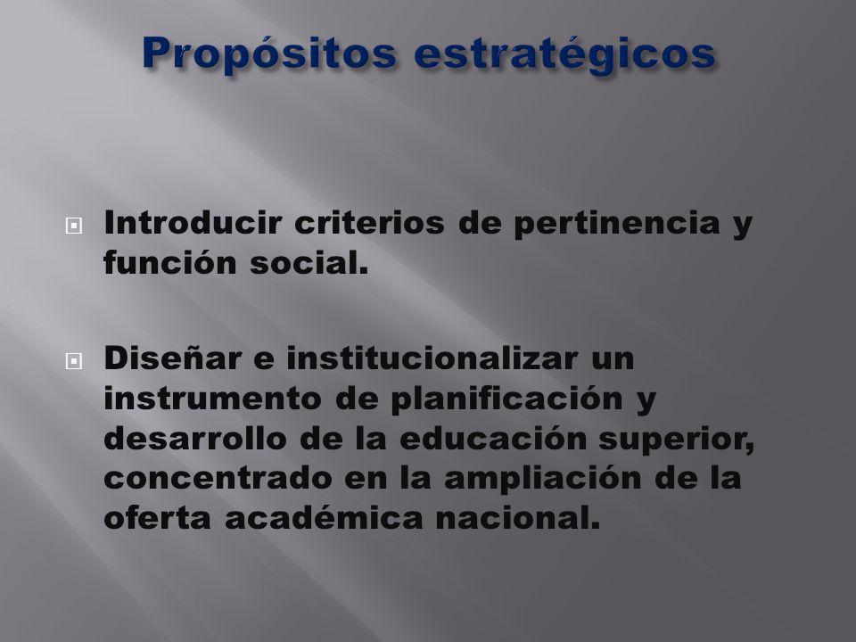 Introducir criterios de pertinencia y función social. Diseñar e institucionalizar un instrumento de planificación y desarrollo de la educación superio