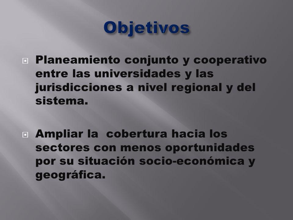 Planeamiento conjunto y cooperativo entre las universidades y las jurisdicciones a nivel regional y del sistema. Ampliar la cobertura hacia los sector