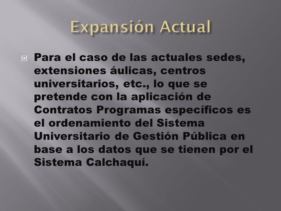 Para el caso de las actuales sedes, extensiones áulicas, centros universitarios, etc., lo que se pretende con la aplicación de Contratos Programas esp