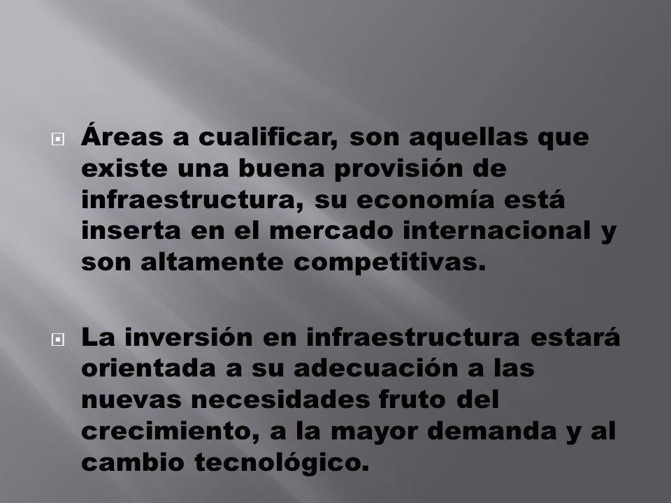 Áreas a cualificar, son aquellas que existe una buena provisión de infraestructura, su economía está inserta en el mercado internacional y son altamen