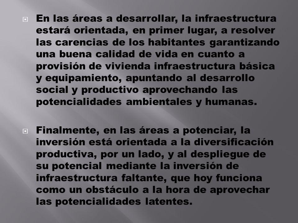 En las áreas a desarrollar, la infraestructura estará orientada, en primer lugar, a resolver las carencias de los habitantes garantizando una buena ca