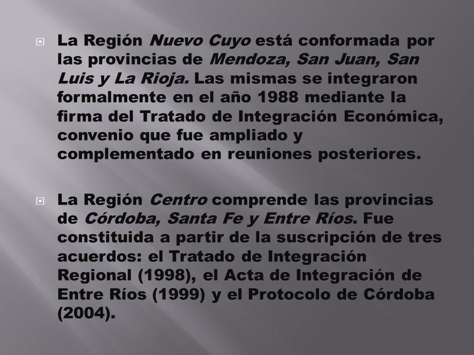 La Región Nuevo Cuyo está conformada por las provincias de Mendoza, San Juan, San Luis y La Rioja. Las mismas se integraron formalmente en el año 1988