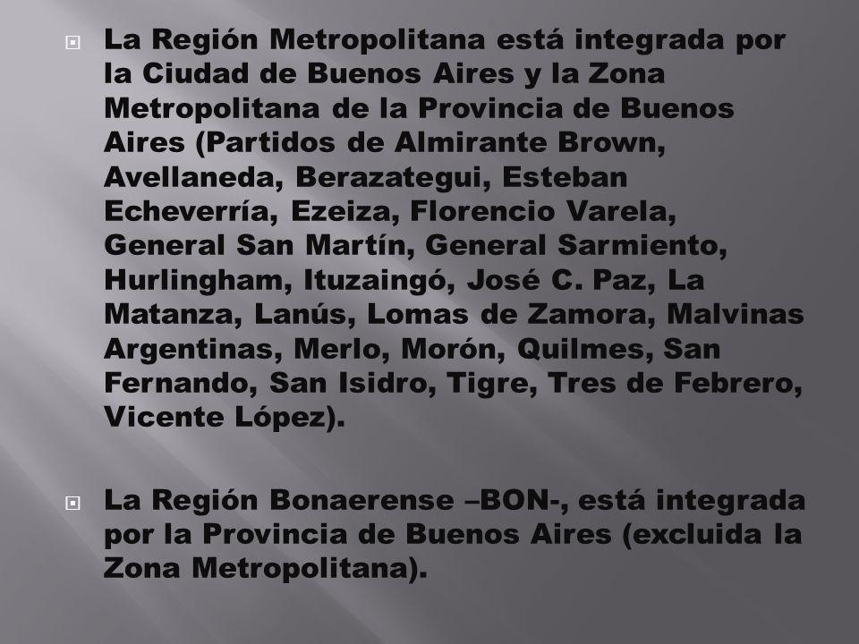 La Región Metropolitana está integrada por la Ciudad de Buenos Aires y la Zona Metropolitana de la Provincia de Buenos Aires (Partidos de Almirante Br