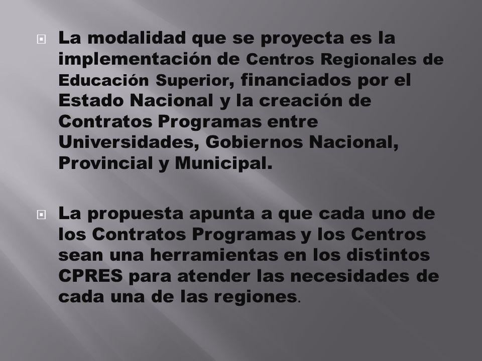 La modalidad que se proyecta es la implementación de Centros Regionales de Educación Superior, financiados por el Estado Nacional y la creación de Con