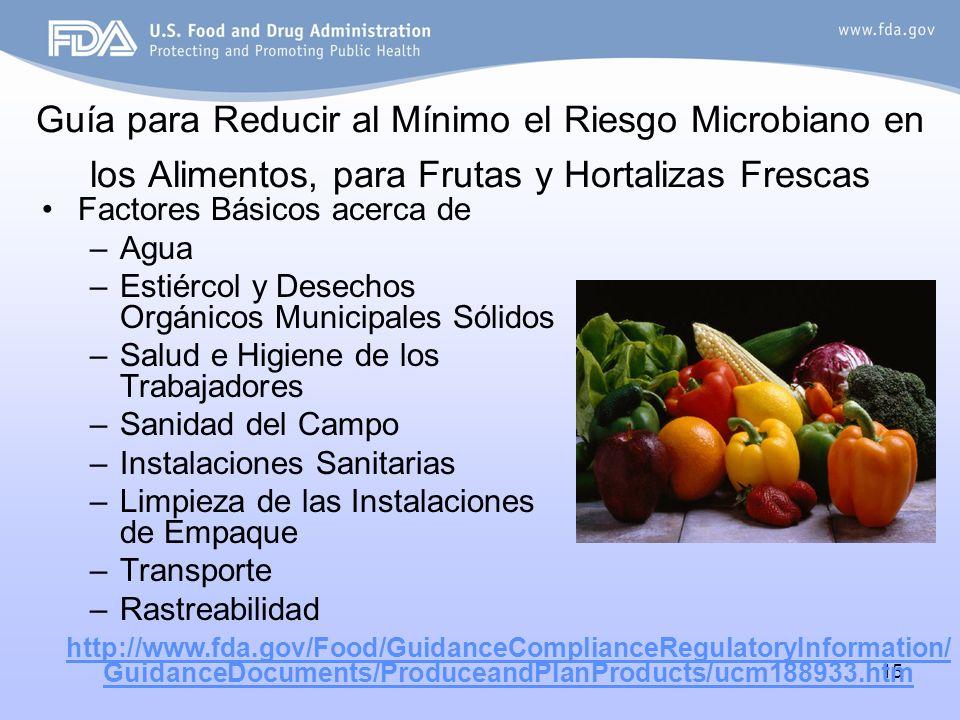 15 Guía para Reducir al Mínimo el Riesgo Microbiano en los Alimentos, para Frutas y Hortalizas Frescas Factores Básicos acerca de –Agua –Estiércol y D