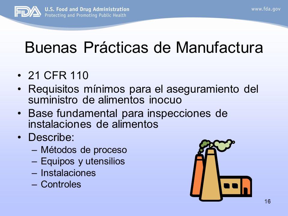 16 Buenas Prácticas de Manufactura 21 CFR 110 Requisitos mínimos para el aseguramiento del suministro de alimentos inocuo Base fundamental para inspec