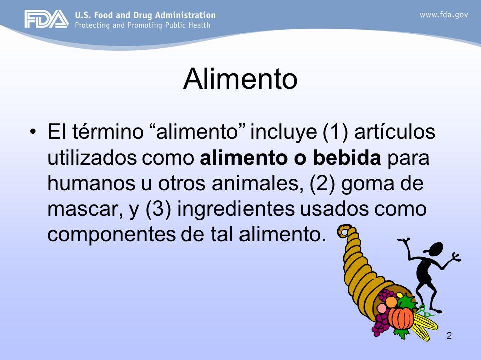 2 Alimento El término alimento incluye (1) artículos utilizados como alimento o bebida para humanos u otros animales, (2) goma de mascar, y (3) ingred