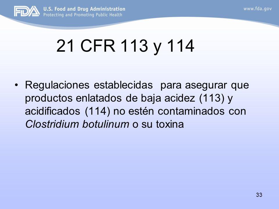 33 21 CFR 113 y 114 Regulaciones establecidas para asegurar que productos enlatados de baja acidez (113) y acidificados (114) no estén contaminados co