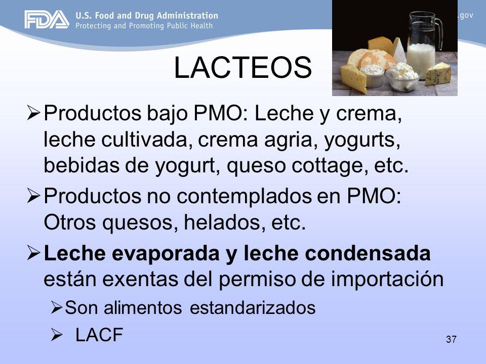 37 LACTEOS Productos bajo PMO: Leche y crema, leche cultivada, crema agria, yogurts, bebidas de yogurt, queso cottage, etc. Productos no contemplados