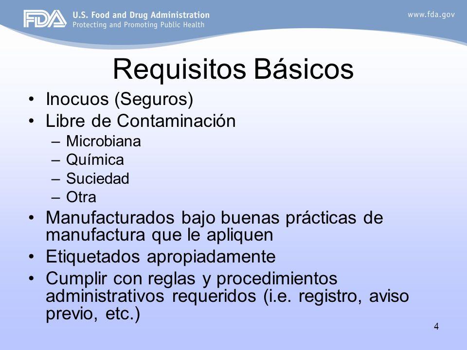 4 Requisitos Básicos Inocuos (Seguros) Libre de Contaminación –Microbiana –Química –Suciedad –Otra Manufacturados bajo buenas prácticas de manufactura