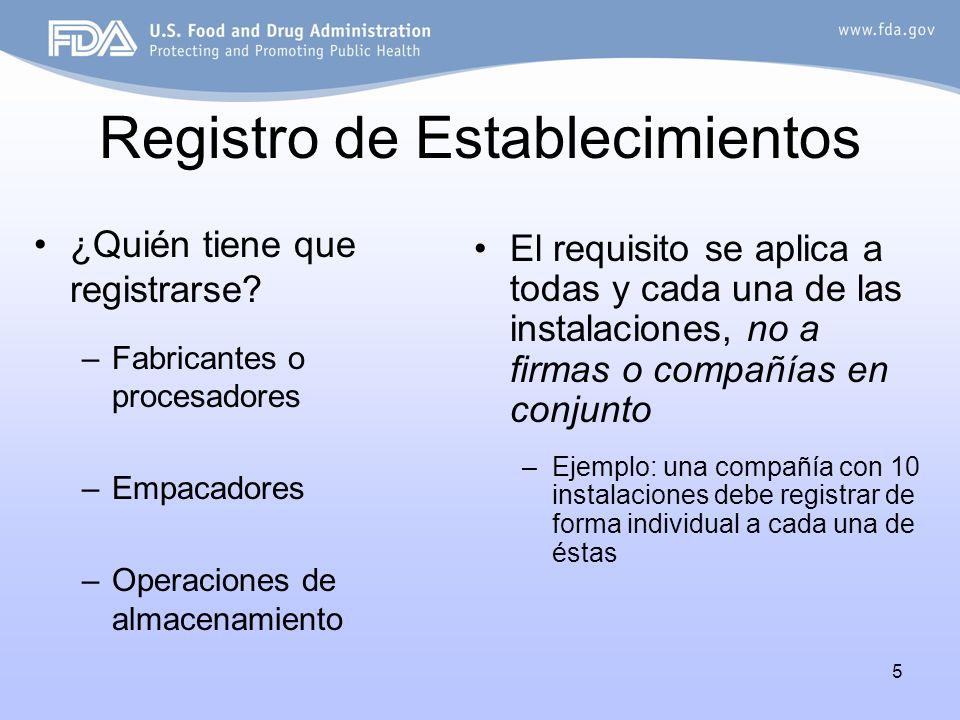 5 Registro de Establecimientos ¿Quién tiene que registrarse? –Fabricantes o procesadores –Empacadores –Operaciones de almacenamiento El requisito se a