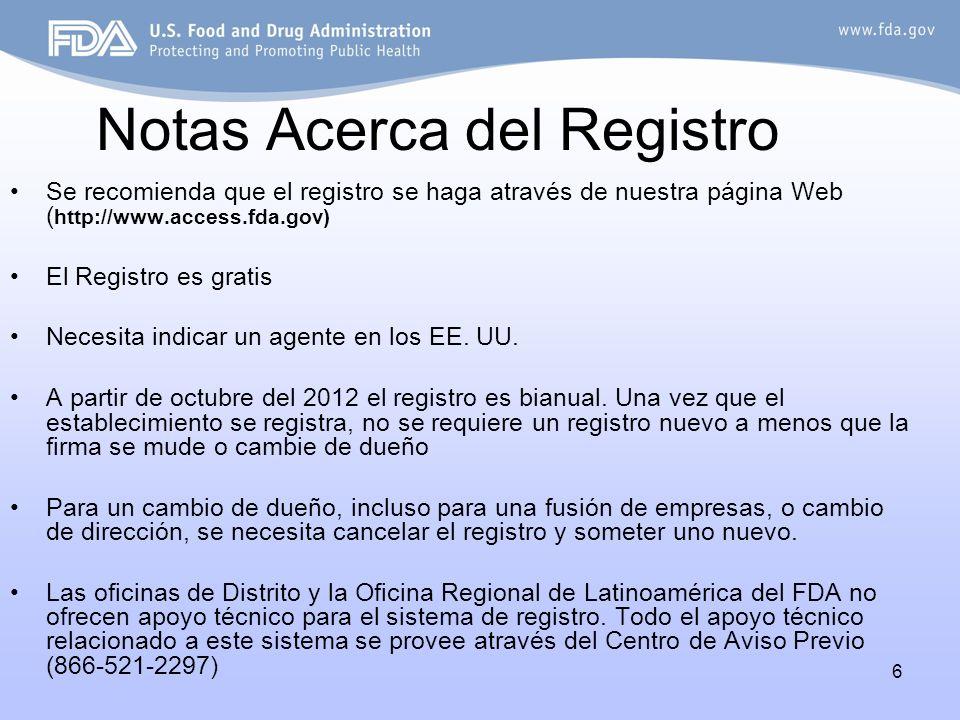 6 Notas Acerca del Registro Se recomienda que el registro se haga através de nuestra página Web ( http://www.access.fda.gov) El Registro es gratis Nec