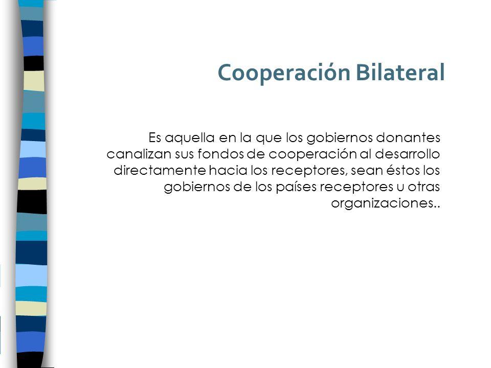 Cooperación Bilateral Es aquella en la que los gobiernos donantes canalizan sus fondos de cooperación al desarrollo directamente hacia los receptores, sean éstos los gobiernos de los países receptores u otras organizaciones..