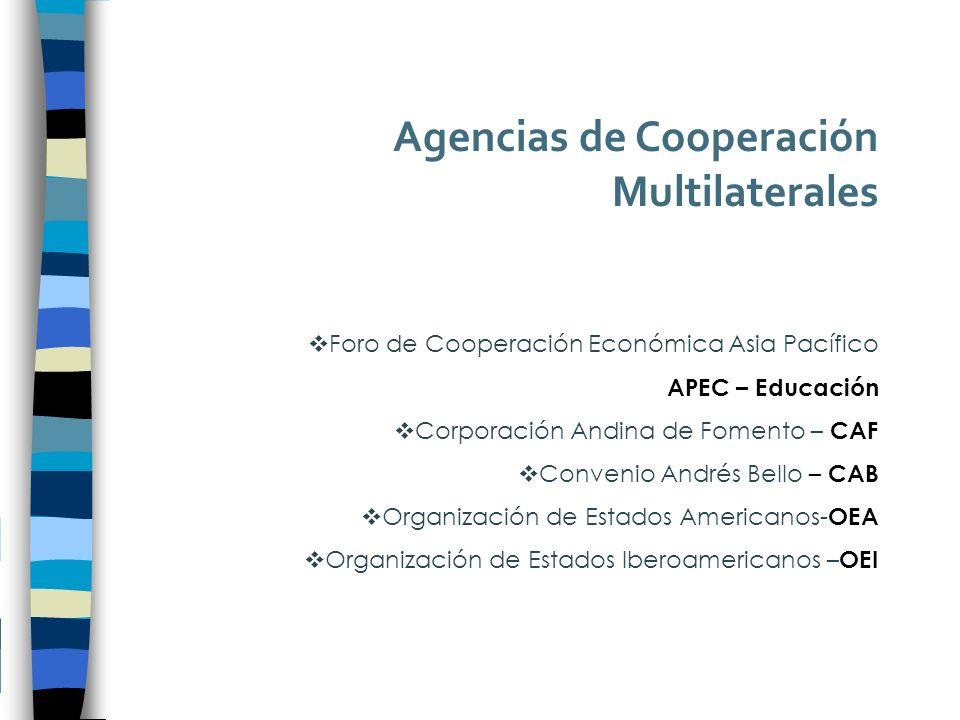 Agencias de Cooperación Multilaterales Foro de Cooperación Económica Asia Pacífico APEC – Educación Corporación Andina de Fomento – CAF Convenio Andrés Bello – CAB Organización de Estados Americanos- OEA Organización de Estados Iberoamericanos – OEI