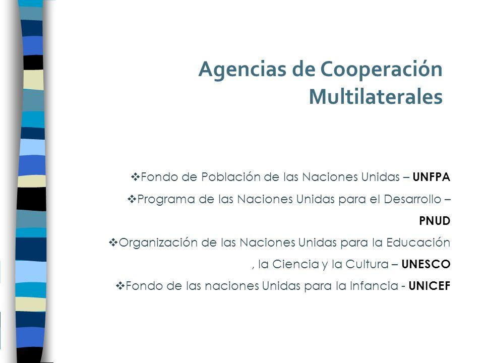 Agencias de Cooperación Multilaterales Fondo de Población de las Naciones Unidas – UNFPA Programa de las Naciones Unidas para el Desarrollo – PNUD Organización de las Naciones Unidas para la Educación, la Ciencia y la Cultura – UNESCO Fondo de las naciones Unidas para la Infancia - UNICEF